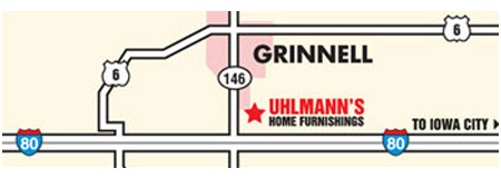 Grinnell map to Uhlmann's Home Furnishings